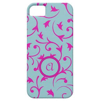 Diseño barroco con rosa personalizado y el azul de iPhone 5 Case-Mate funda