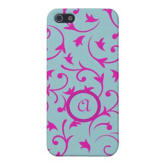 Diseño barroco con rosa personalizado y el azul de iPhone 5 protector