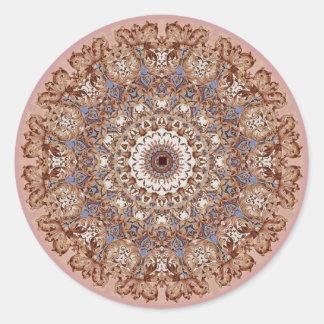 Diseño barroco florentino No6 del caleidoscopio Pegatina Redonda