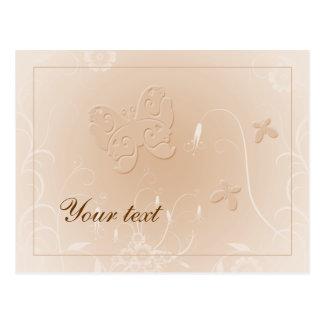 Diseño beige en colores pastel suave de la maripos tarjetas postales