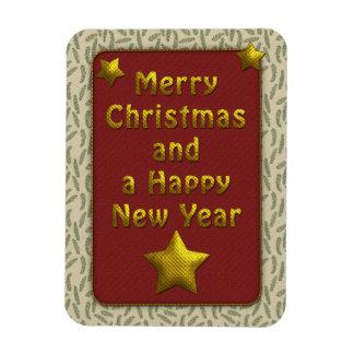 Diseño beige y rojo tradicional del navidad iman