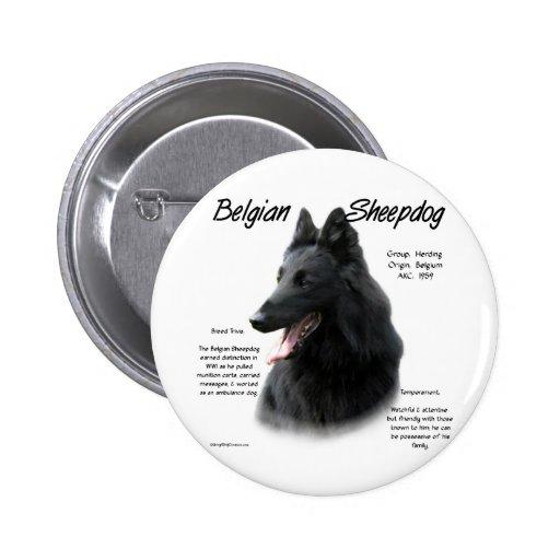 Diseño belga de la historia del perro pastor pin redondo 5 cm