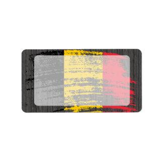 Diseño belga fresco de la bandera etiquetas de dirección