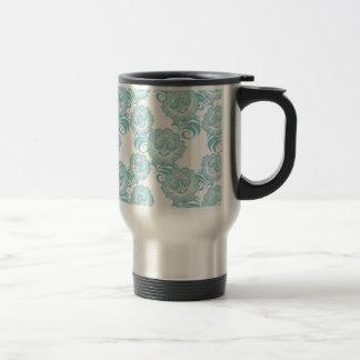 Diseño blanco azul del estampado de plores del taza térmica