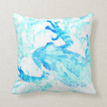 diseño blanco azul invertido del animal de musgo almohada