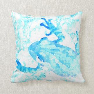diseño blanco azul invertido del animal de musgo cojín decorativo