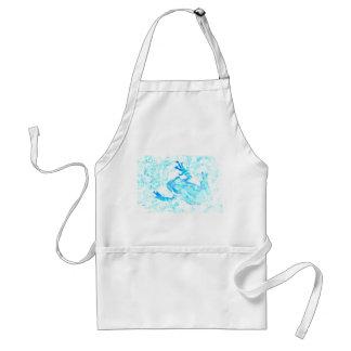 diseño blanco azul invertido del animal de musgo delantal