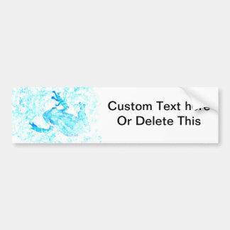 diseño blanco azul invertido del animal de musgo pegatina para auto