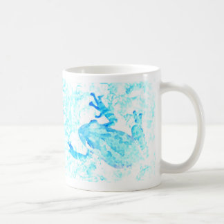 diseño blanco azul invertido del animal de musgo taza de café