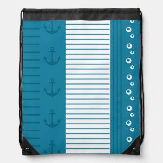 Diseño blanco azul náutico de la raya mochila
