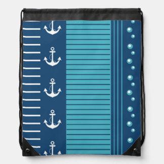 Diseño blanco azul náutico de la raya mochilas