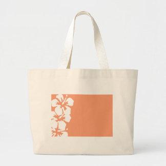 Diseño blanco de encargo del hibisco bolsas de mano