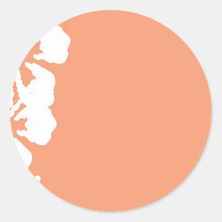 Diseño blanco de encargo del hibisco pegatinas redondas