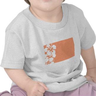 Diseño blanco de encargo del hibisco camiseta