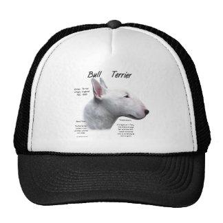 Diseño (blanco) de la historia de bull terrier gorras