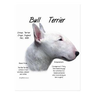 Diseño (blanco) de la historia de bull terrier tarjetas postales