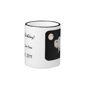 Diseño blanco de la Luna Llena del búfalo Taza De Dos Colores