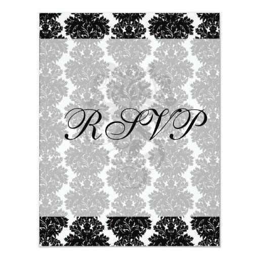"""diseño blanco del damasco del pequeño negro del invitación 4.25"""" x 5.5"""""""