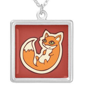 Diseño blanco del dibujo del Belly del Fox del Colgante Cuadrado