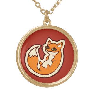 Diseño blanco del dibujo del Belly del Fox del Colgante Redondo