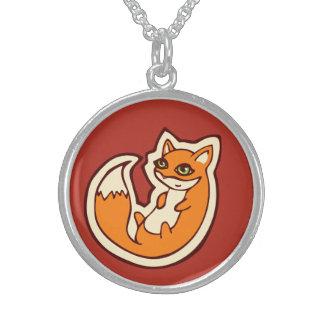 Diseño blanco del dibujo del Belly del Fox del Collares De Plata Esterlina