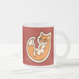 Diseño blanco del dibujo del Belly del Fox del Taza De Café Esmerilada