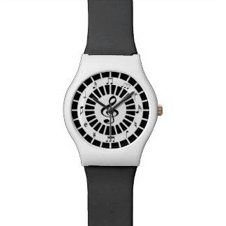 Diseño blanco negro circular elegante de las notas reloj de mano
