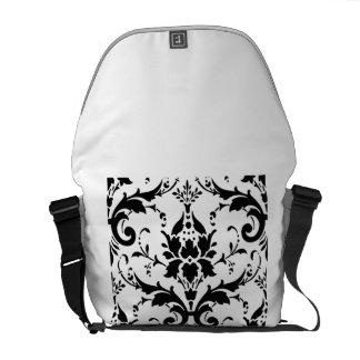 Diseño blanco negro del modelo del damasco bolsa messenger