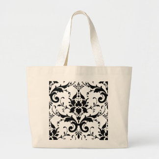 Diseño blanco negro del modelo del damasco bolsa tela grande