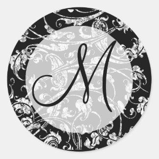 Diseño blanco negro elegante del monograma del pegatina redonda