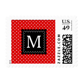 Diseño blanco rojo del monograma del negro del sello