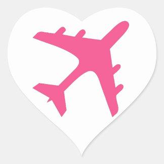 Diseño blanco rosado del aeroplano pegatina en forma de corazón