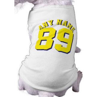 Diseño blanco y amarillo del jersey de los playera sin mangas para perro