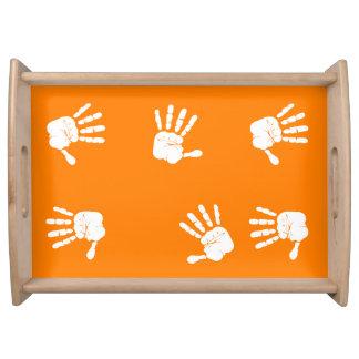 Diseño blanco y anaranjado de las impresiones de bandejas
