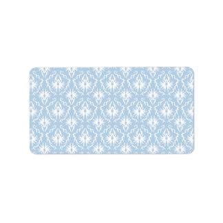 Diseño blanco y azul claro del damasco etiqueta de dirección