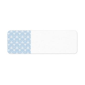 Diseño blanco y azul claro del damasco etiqueta de remitente