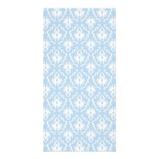 Diseño blanco y azul claro del damasco tarjeta fotográfica personalizada