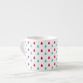Diseño blanco y azul rojo de la gota de agua taza de espresso