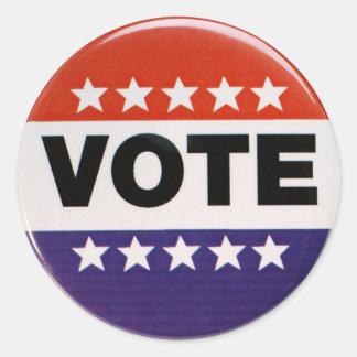 Diseño blanco y azul rojo del voto pegatina redonda