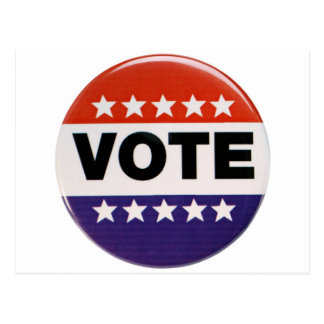 Diseño blanco y azul rojo del voto tarjetas postales