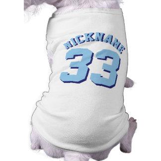 Diseño blanco y del azul de los mascotas el | del playera sin mangas para perro