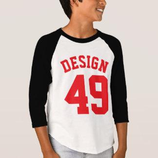 Diseño blanco y del rojo negro de los niños el | playera