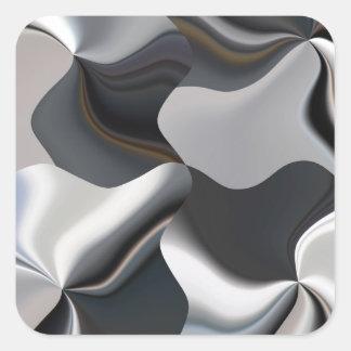 Diseño blanco y negro abstracto pegatina cuadrada