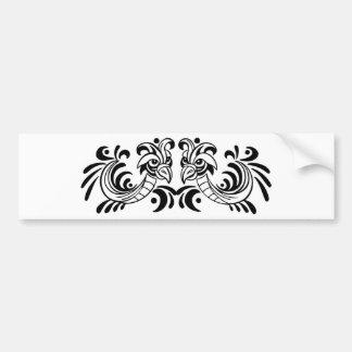 Diseño blanco y negro de dos pájaros pegatina de parachoque
