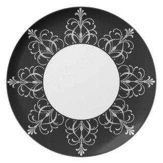 Diseño blanco y negro de Fleur Plato De Cena