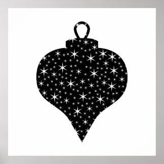 Diseño blanco y negro de la chuchería del navidad posters