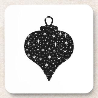 Diseño blanco y negro de la chuchería del navidad posavasos