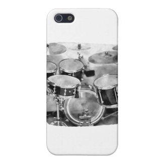 Diseño blanco y negro de la fotografía de Drumset iPhone 5 Coberturas