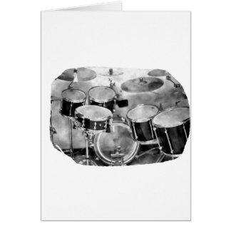Diseño blanco y negro de la fotografía de Drumset Tarjeta