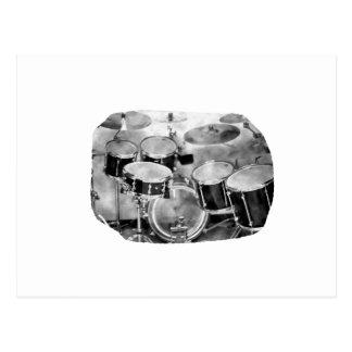 Diseño blanco y negro de la fotografía de Drumset Postal